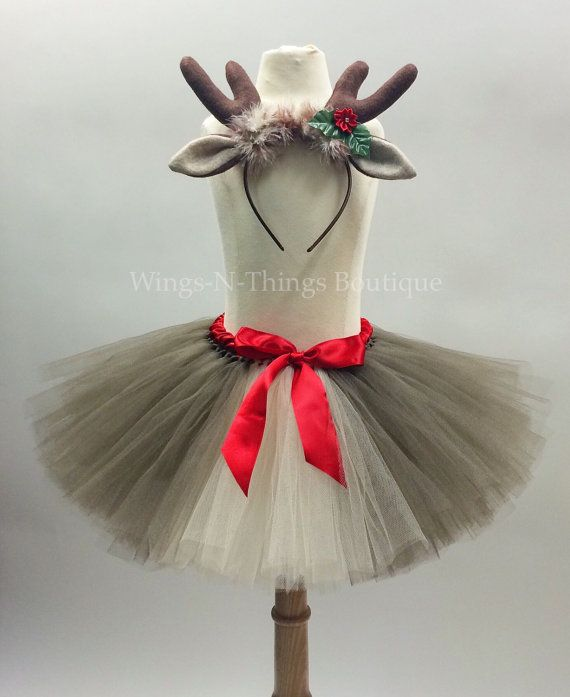REINDEER TUTU SKIRT Set w/ Antler Headband by wingsnthings13