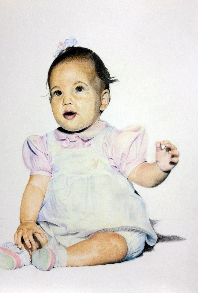 Baby Kim Kardashian by Shanay.  #Colour #pencil on #paper