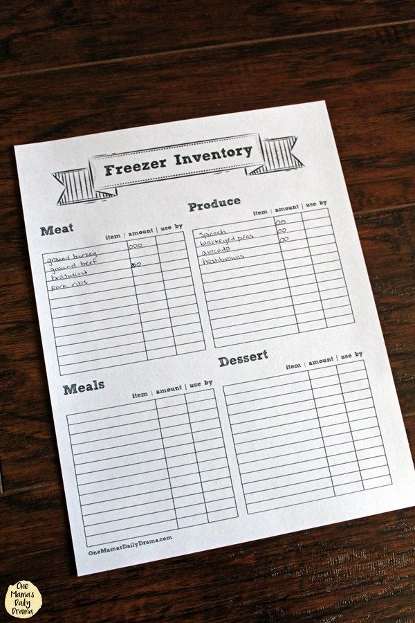 Printable freezer inventory tracker with categories