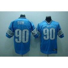 Lions #90 Ndamukong Suh Blue Stitched NFL Jersey