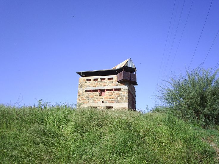 A priime example of the standard  Boer War Blockhouse on the banks of the Riet River
