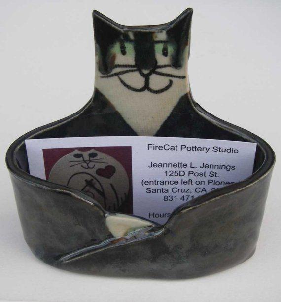 Cat Lover Business card Holder ceramic Custom handmade by firecat, $30.00: