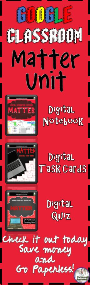This bundle includes a Digital Interactive Notebook, Digital Task Cards, and Digital Google Forms Quiz all focused on Matter. Included in the unit are activities focusing on states of matter, chemical and physical changes, the atom, and mixtures and solutions.