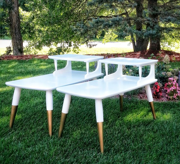 Mid century modern end tables refinished with beautiful gold dipped legs