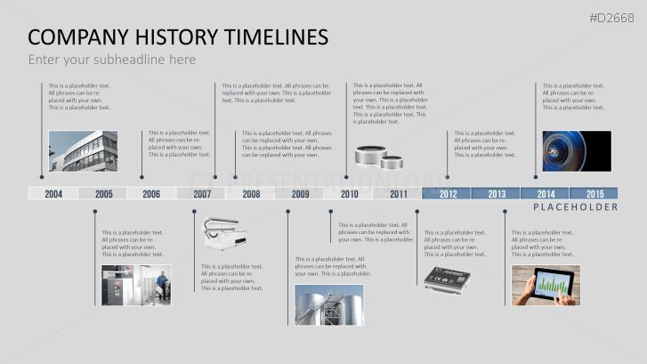 PowerPoint Timeline Template for Company Histories DATA VIZ - advertising timeline template
