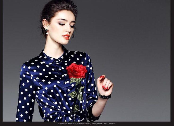 Длинные юбки краю 2017 весной новый женский темперамент дамы волна точка печати шить шелковые плиссированные платья 1872- глобальной станции Taobao