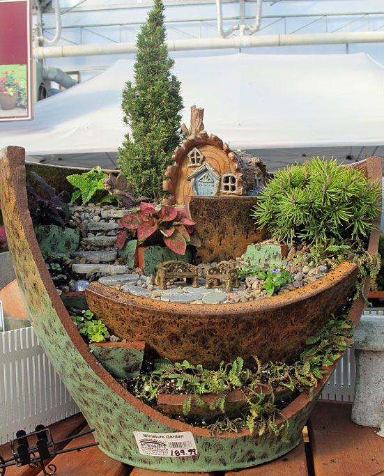 Our very large miniature garden in our greenhouse!