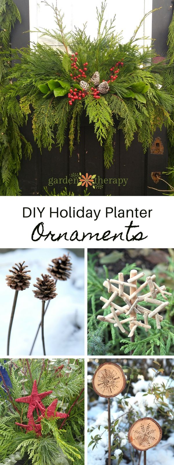 Easy and frugal DIY planter ornaments #christmasornaments #outdoordecor #holidayplanter #Christmasplanter #DIYChristmas