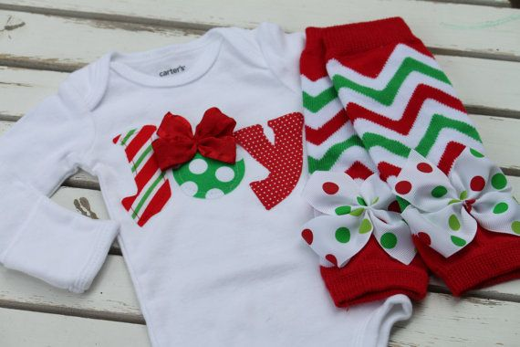 Newborn Christmas Outfit -- *Christmas Joy* bodysuit and leg warmers -- My First Christmas -- chevron and polka dots - Order by 12/9