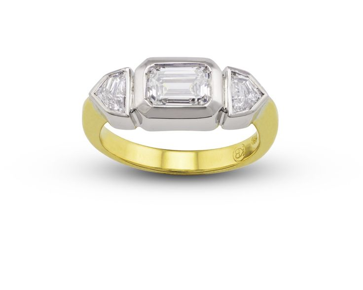 """""""Mr B"""" 18ct Yellow and White Gold Engagement ring with Emerald Cut Diamond and Step Cadi shoulder diamonds. Handmade at Kristin Bree Designs"""