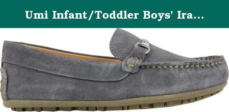 Umi Infant/Toddler Boys' Ira Toddler Moccasin,Gray Leather,EU 26 M. Stylish and smart, the Umi Ira moccasin from the Metro Moc line features a metal bit ornament on the vamp. A plush removable insole engineered with UmiCloud TechnologyTM memory foam creates the feeling of walking on clouds.