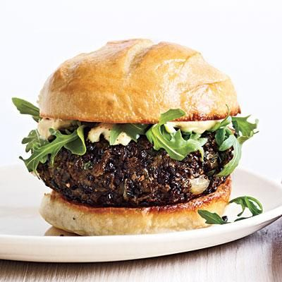 Mushroom Lentil Burgers | CookingLight.com [Skip the mayo and dairy and keep it clean.] :))
