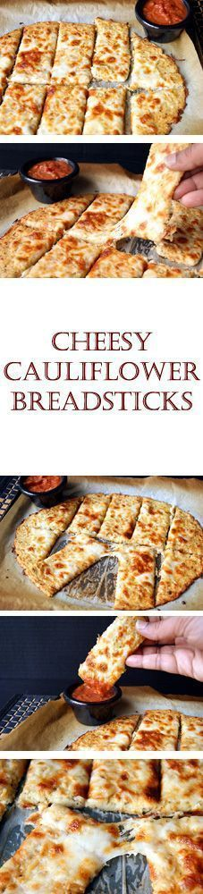 """""""Cheesy Cauliflower Breadsticks"""", a super delicious variation of the regular bread sticks. It was very easy to make and I would rank this to be more delicious than its yeasty cousin."""