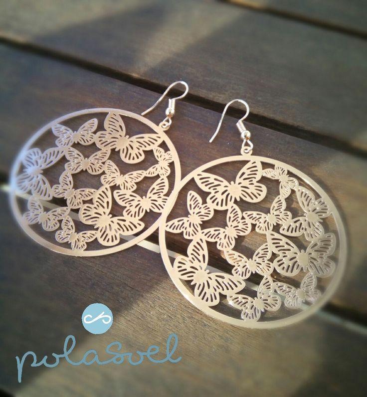 Dangle & Drop Earrings,Gold Pink Plated, lazer cut pink enamel earrings by polasoeljewelry on Etsy