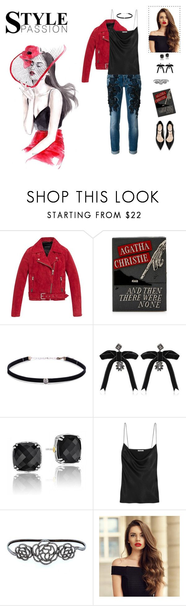 """""""And Then There Were None...."""" by livdeaton ❤ liked on Polyvore featuring Andrew Marc, Olympia Le-Tan, Carbon & Hyde, Dsquared2, Tacori, Protagonist, Nush, Lime Crime, red and lace"""