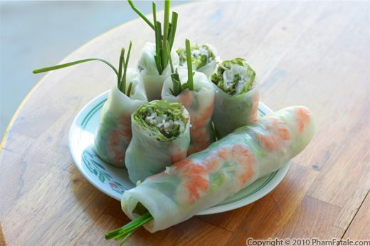 Shrimp Spring Rolls (gỏi cuốn in Vietnamese):  Shrimp spring rolls (gỏi cuốn in Vietnamese) are the perfect finger food when we have a party. Not only are they healthy, but they're very tasty as well. I usually serve them sliced in half with a peanut and hoisin sauce on the side.