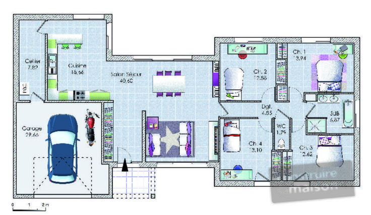 Plan habillé  - maison - Un vaste plain-pied original