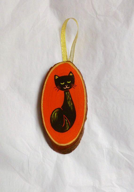 VERKOOP - Christmas Cat decoratie MidCentury houten Ornament Plaque atomaire Kitsch Tiki Retro katachtige zwart oranje Kitten Halloween opknoping