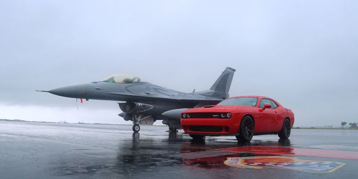 USAF F-16 and a 2015 Dodge Challenger Hellcat...