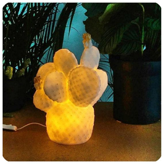 The Cactus Lamp White Contemporary Night Light by FigoHome
