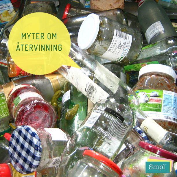 MYT:  Det är ingen vits att sortera färgat och ofärgat glas, lastbilen lägger ändå allt tillsammans.  SANNING:  Det kan se ut som om allt blandas ihop, men lastbilarna som hämtar glasförpackningar har två fack på flaket, ett för färgade glasförpackningar och ett för ofärgade.  De kan återvinnas hur många gånger som helst utan att kvaliteten försämras. Att använda återvunnet glas i tillverkningen av nytt minskar koldioxidutsläppen med 41 % jämfört med att använda ny råvara, samtidigt som det…