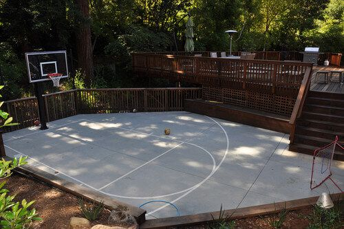 35 Backyard Courts For Different Sports Tennis Basketball Volleyball Etc Basketball Court Backyard Backyard Basketball Home Basketball Court