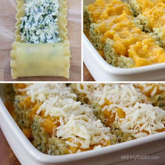 Butternut Squash and Spinach Lasagna Rolls.... Could you sub eggplant or zucchini for the pasta and/or pumpkin puree for the Butternut Squash?