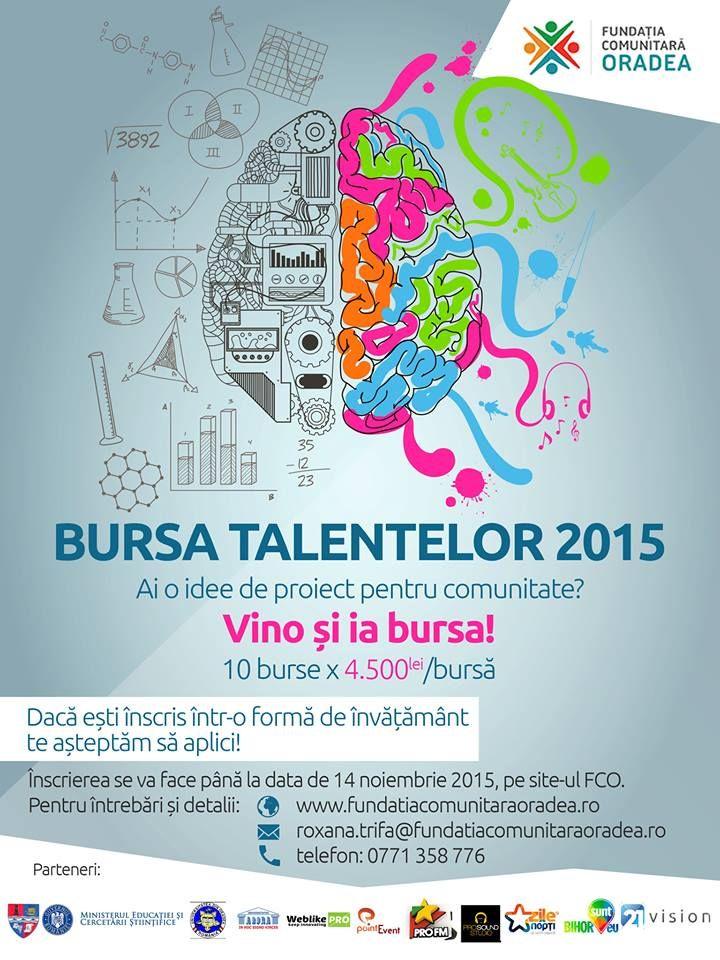 Fundația Comunitara Oradea a lansat și în acest an Bursa Talentelor, și acordă10 burse şi 10.000 de euro pentru10 proiecte care să dinamizeze comunitatea bihoreană. Hai şi tu să fii unul din cei ...