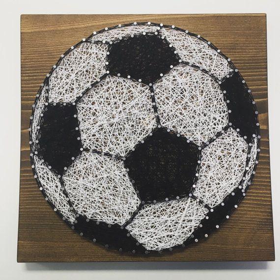 Soccer String Art Sign, Sports Art, Soccer Ball, Wall Decor, Handmade Gift, made to order