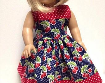 """FALL SALE Midnight Cherry Patch handmade doll dress: You Choose 14"""" or 15"""" or 18"""" dolls fits Wellie Wisher Bitty Baby American Girl"""