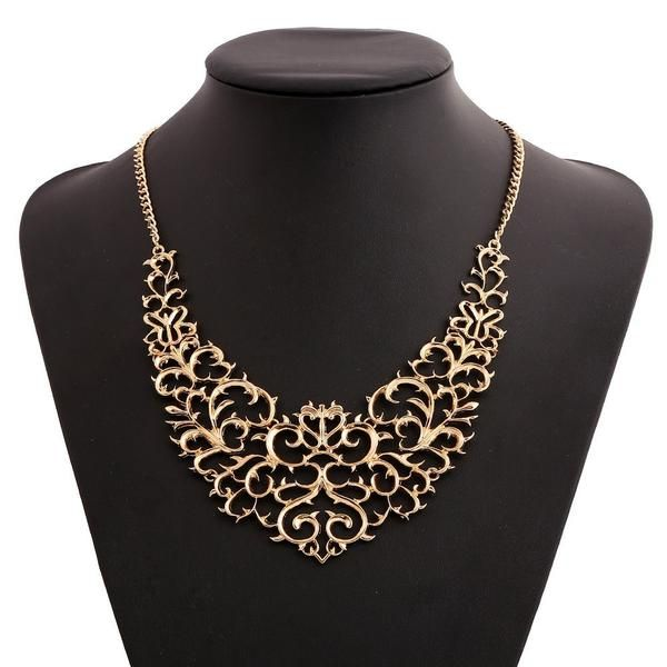 LadyArc Metalic Hollow Carved Fashion Necklaces