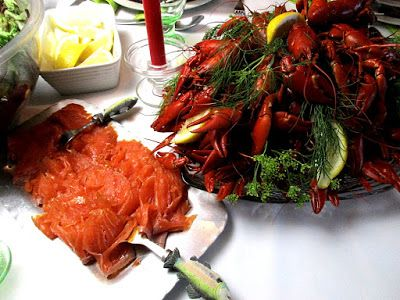 Crayfish feast, Rapujuhlat Cold smoked salmon goes well on the toast as well. (And it is quicker to eat than crayfish...)