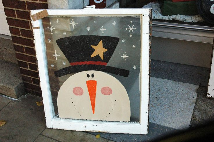 painting on old windows | Country Lane Crafts and Antiques: There's a snowman in that window