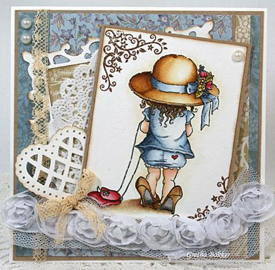 handmade card from Het kaartenhoekje van Gretha ... shabby chic ... Mo Manning image ... luv the way Mo has captured this moment of time ... little girl trying on her mom's shoes ... beautiful watercoloring by Gretha ... great card!!
