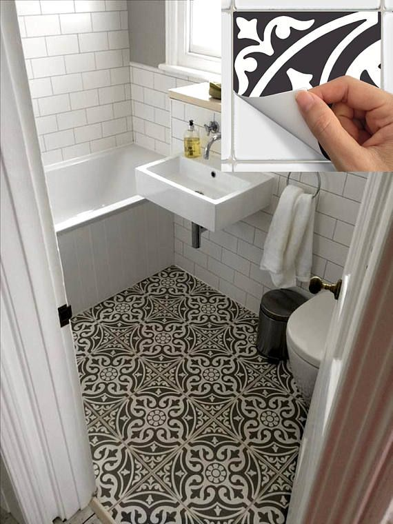 Floor Tile Sticker for Kitchen, bath, Waterproof & Removable Vinyl Decal: W006Black