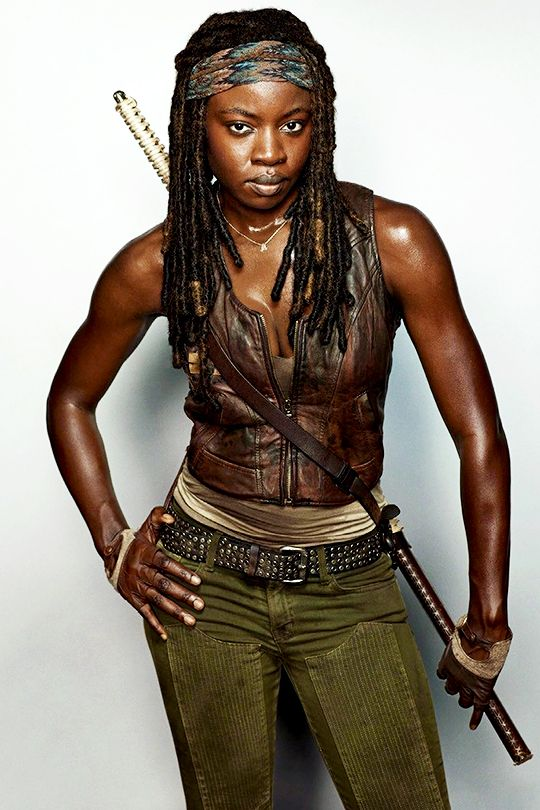 Michonne-she's a full blown bad ass! I want to be her when i grow up!