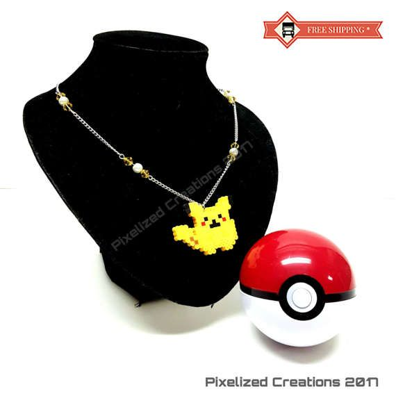 Pokemon Inspired Pikachu Necklace with Swarovski Crystals and