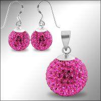 SE1196SWSS - Ružové guľôčky - strieborný set so Swarovski krištálmi  #supersperky #krasnesperky #crystal #ball