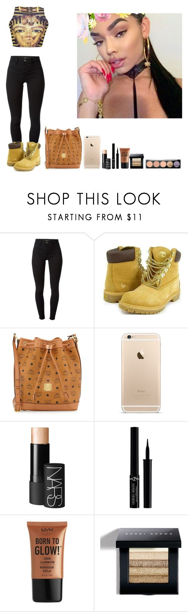 """-Glo Queen"" by thegloup-reina on Polyvore featuring J Brand, Timberland, MCM, NARS Cosmetics, Giorgio Armani, NYX, Bobbi Brown Cosmetics and MAKE UP FOR EVER"