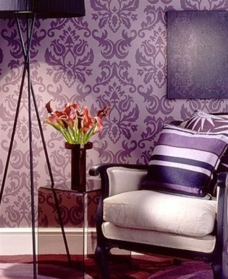 Purple wall design maybe in silver or teal dream room for Purple and silver living room ideas