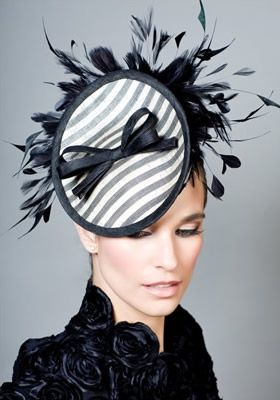 Rachel Trevor-Morgan - Striped fine straw mini disc with bow and feathers