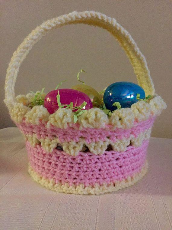 Crochet Easter Basket. Kids Pink Crocheted by PlatinumMomCrochet