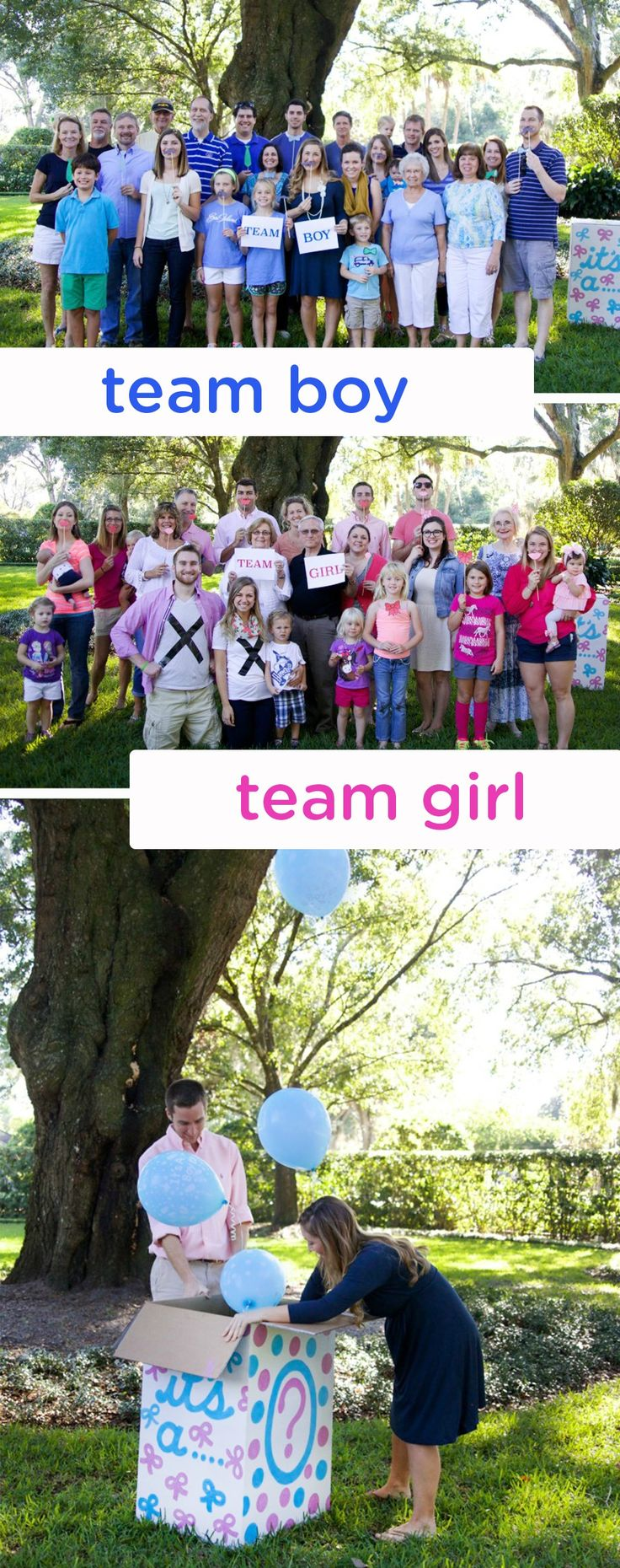 This simple, creative, and fun gender reveal party idea gets everyone in on the excitement. Have party guests dress up in pink or blue, based on their guess, and tally up the votes before surprising everyone with the big news!