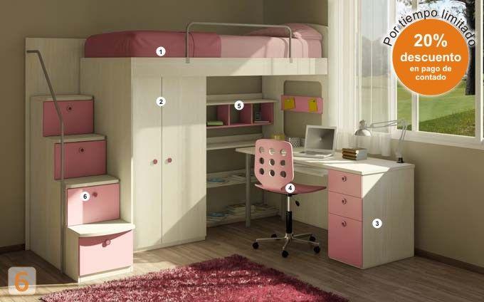 Mueble c digo a04 cama marinera con escritorio - Literas merkamueble ...