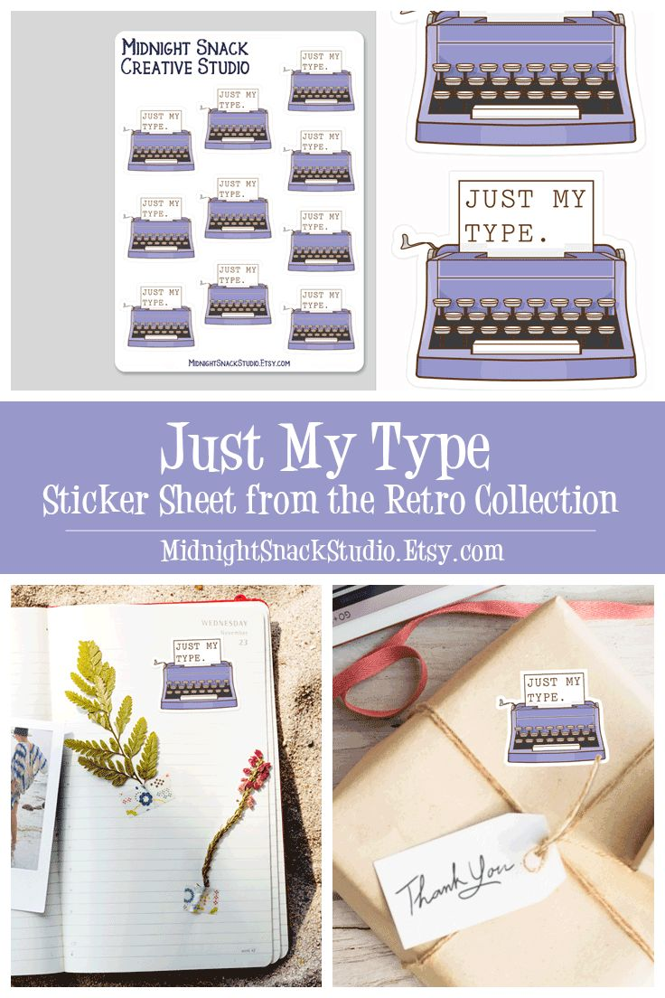 Our vintage Typewriter Sticker is now available in a sticker sheet. These Just My Type planner stickers feature a custom design and make the perfect addition to your planner, journal or calendar. These retro stickers are printed on high quality vinyl and can be used to seal envelopes or gift bags, or make an excellent gift for writers.