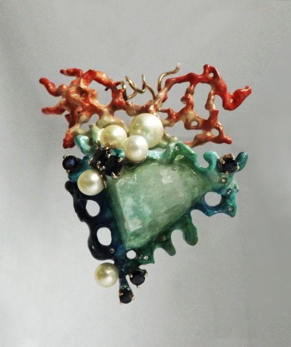 Anatomical Hart Pendant Silver Sculpture 14k Gold by BonTonJoyaux