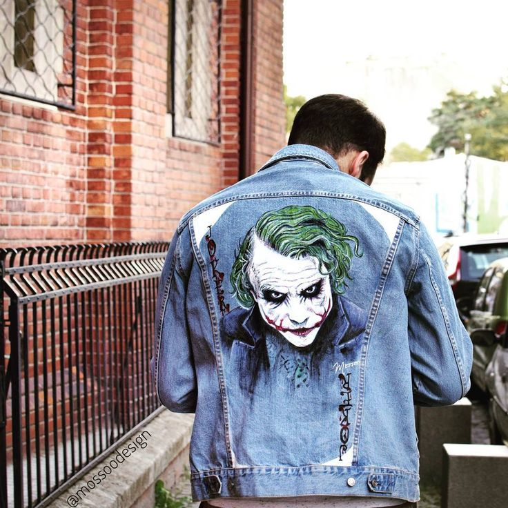 Check out unique and one of a kind painted jackets on instagram: @mossoodesign / #beMossoo/ painted jean jacket/ joker jacket/ custom jacket/ hand painted/ denim jacket