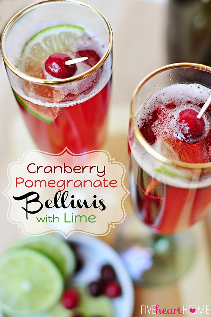 Cranberry Pomegranate #Bellinis with Lime (Cocktail or Mocktail) ~ this pretty red drink gets its color from fruit juice, is perfect for #ValentinesDay, and can be made with #champagne or seltzer!