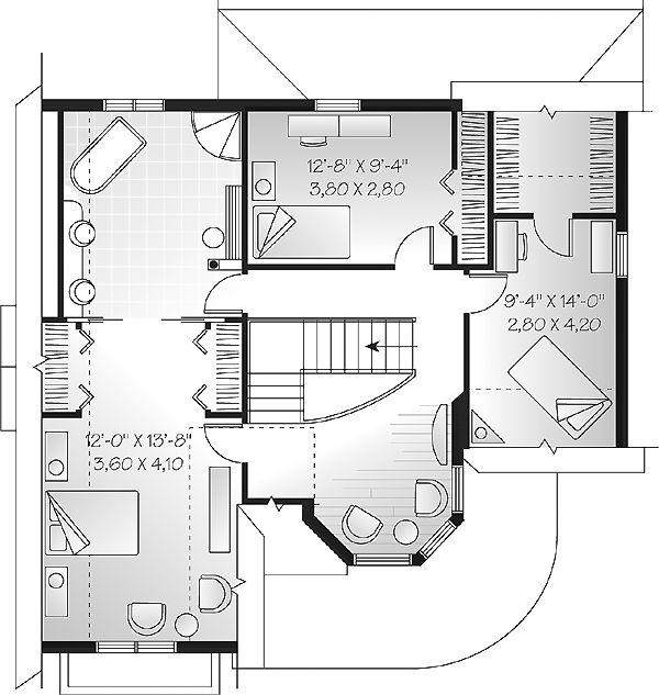 Second Floor Plan of Victorian   House Plan 65256