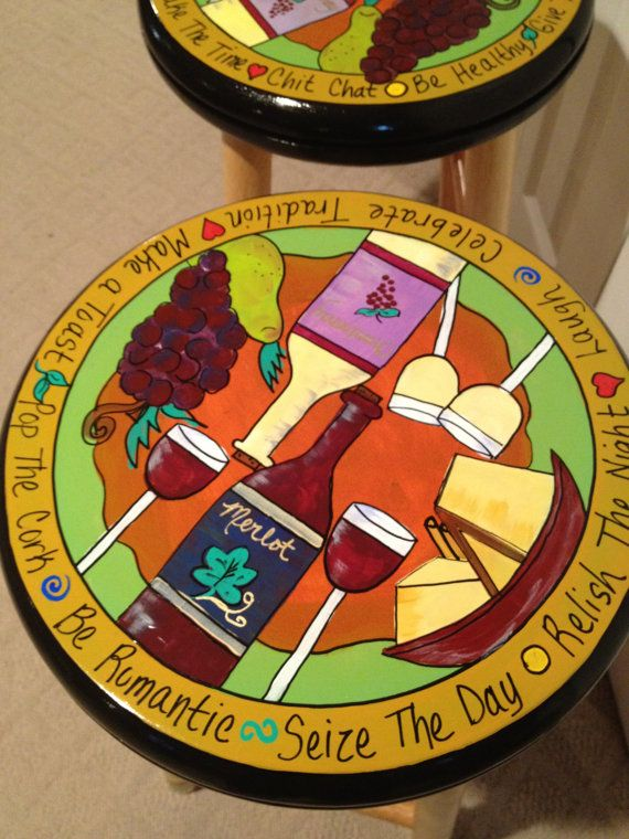 Custom Hand Painted 29 Wooden Round Top Bar by paintingbymichele